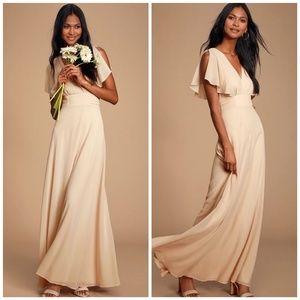 LULUS Dearly Loved Cream Flutter Sleeve Maxi Dress